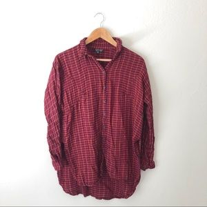 Topshop Plaid Red Tunic Top